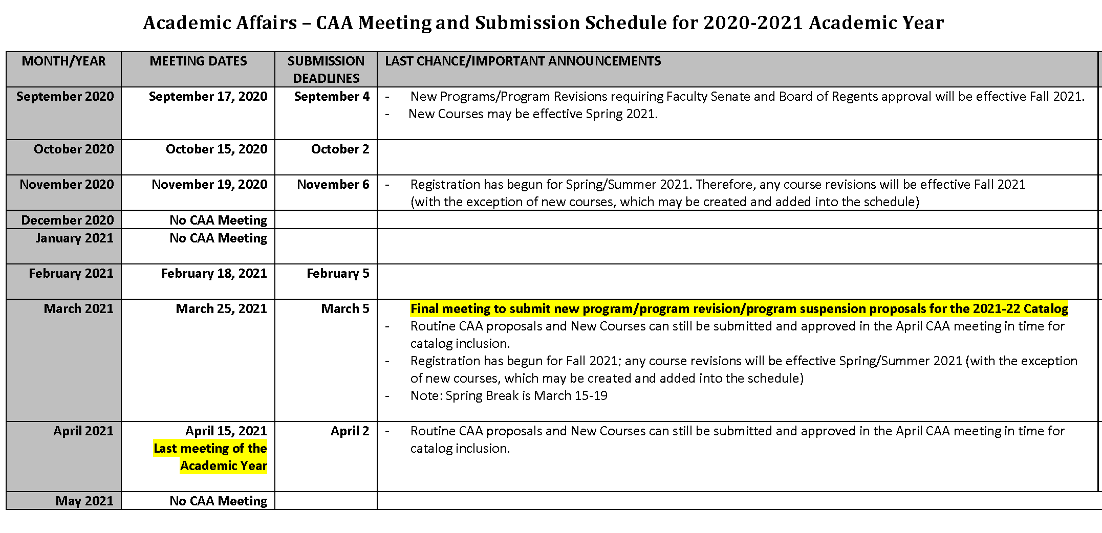 2020 2021 Academic Affairs Calendar | Council On Academic Affairs